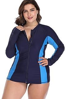 ba38800429266 Sociala Women s Plus Size Long Sleeve Rash Guard Top Zip Front UPF 50 Swim  Shirt