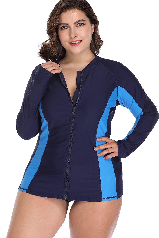 Sociala Plus Size Swim Shirt Long Sleeve Rashguard Zipper Rash Guard Swimsuit 3X