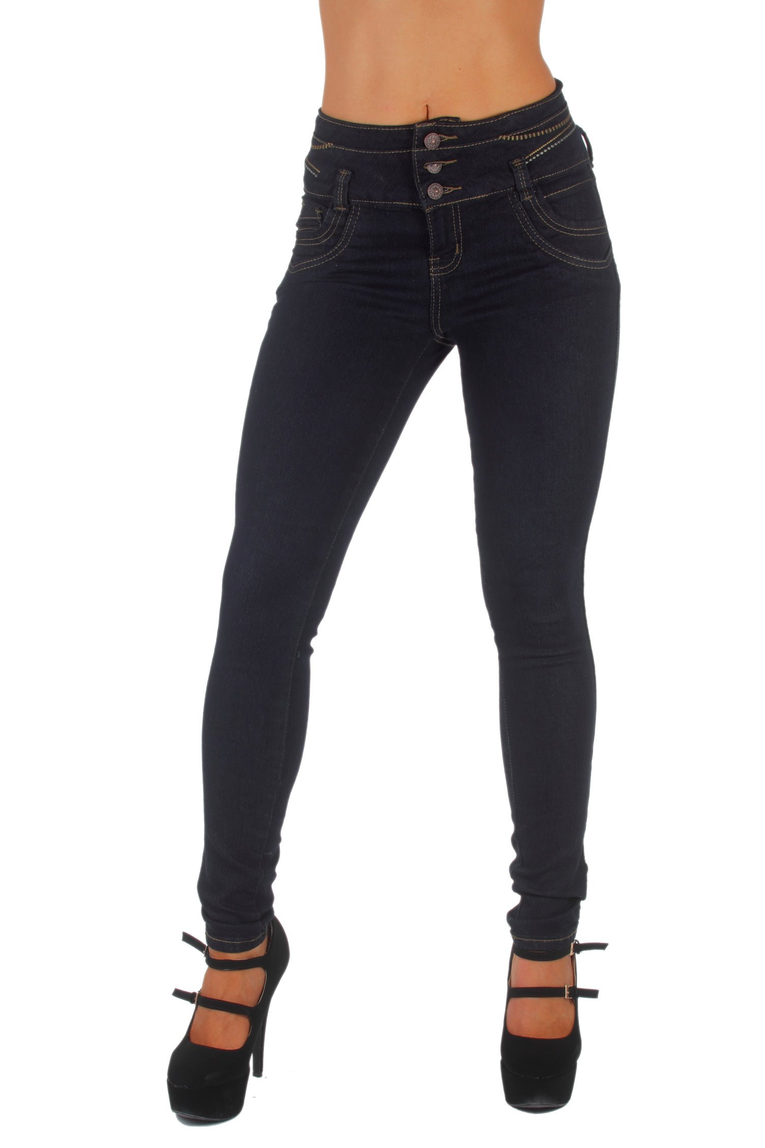 Style G536– Colombian Design, High Waist, Butt Lift, Levanta Cola, Skinny Jeans in Black Size 15