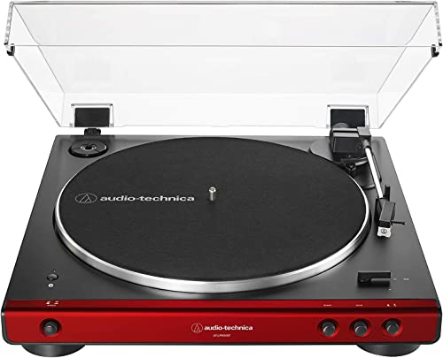 Audio-Technica AT-LP60XBT-RD Fully Automatic Belt-Drive Stereo Turntable, Red Black, Bluetooth, Hi-Fi, 2 Speed