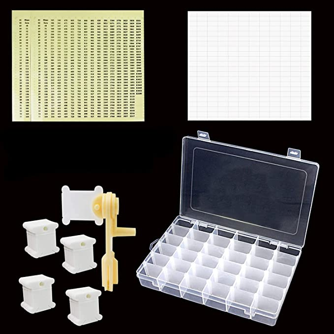 36 Compartments with 280 Floss Bobbins,3 White/&3 Black Embroidery Floss and 500 Floss Number Stickers. Embroidery Floss Organizer Box Full Set