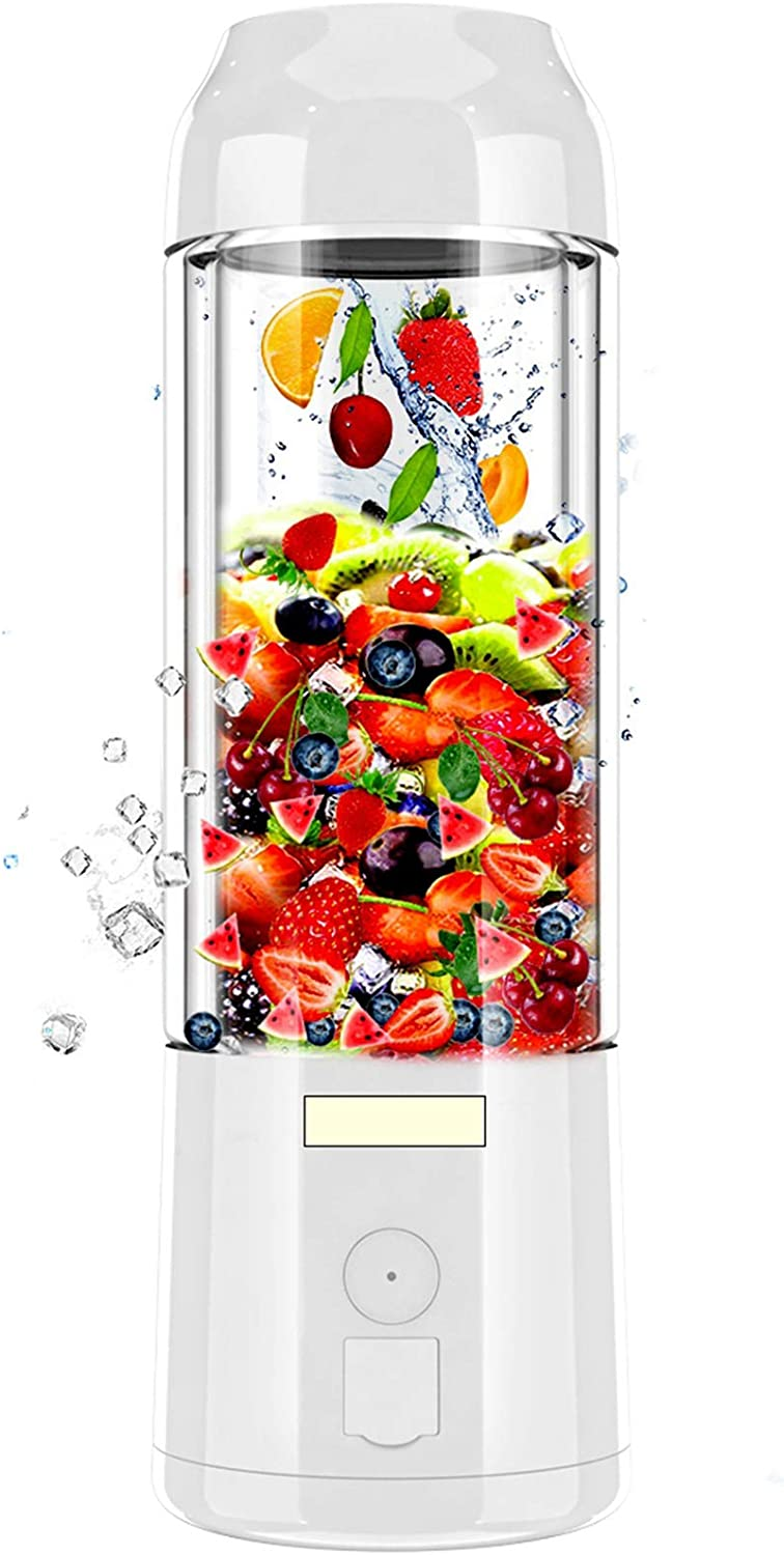 Portable Blender Juicer Cup USB Rechargeable Battery Operated, 6 Blades in 3D, 16 oz, 480ml Mini Fruit Mixing Machine with Ice Tray FDA BPA Free (White)