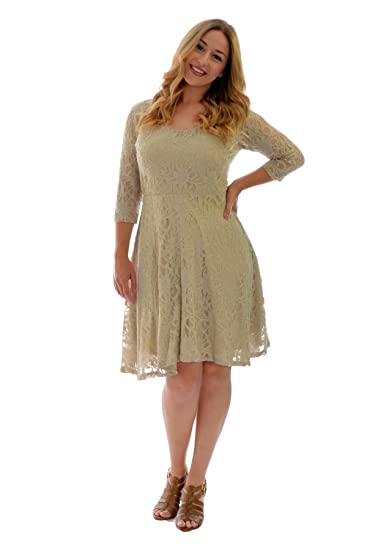 Nouvelle Collection Womens Plus Size Dress Ladies Skater Style Floral Lace  Flared Party Wear Round Neck 3ac6d305fb