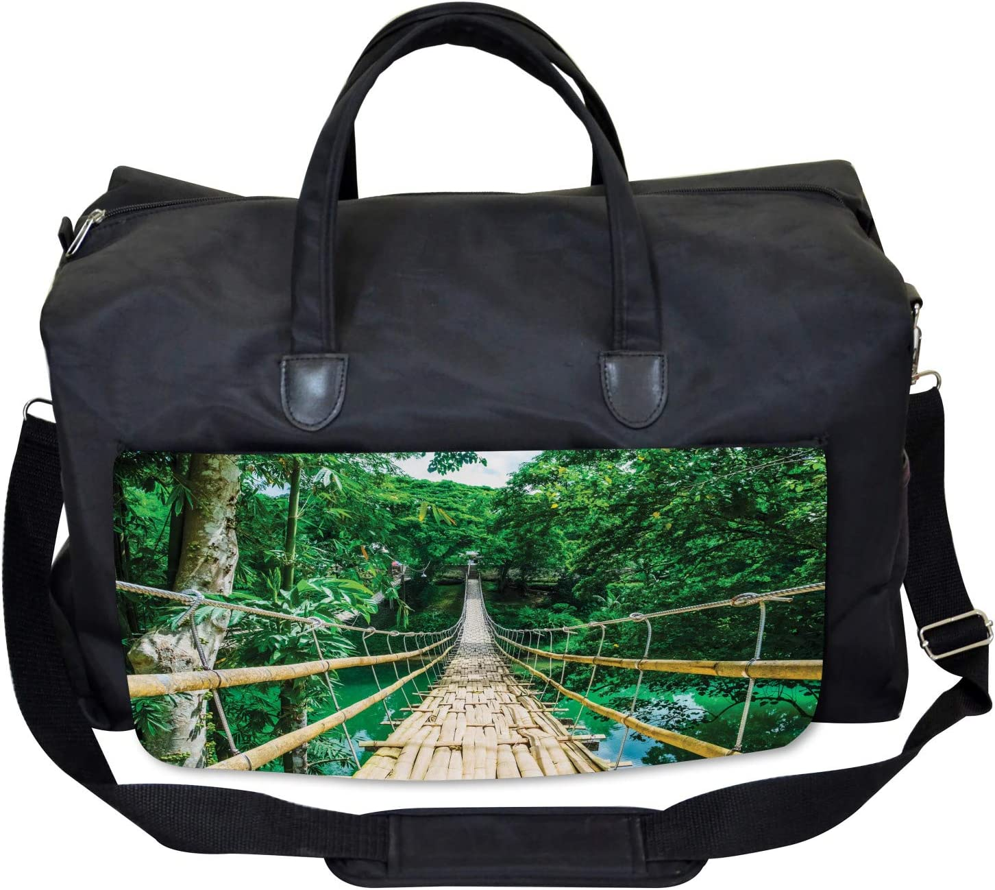 River Bamboo Forest Ambesonne Tropical Gym Bag Large Weekender Carry-on