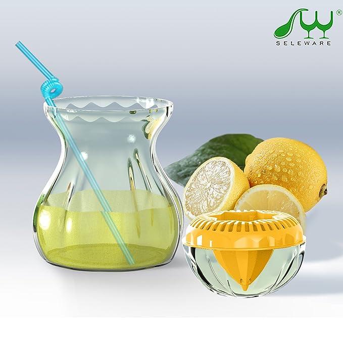 Amazon.com: SELEWARE Premium Tritan Plastic Lemon Lime Squeezer, Manual Citrus Press Juicer Container Set with Lid, BPA-Free, Freezer, Dishwasher Safe (21oz ...