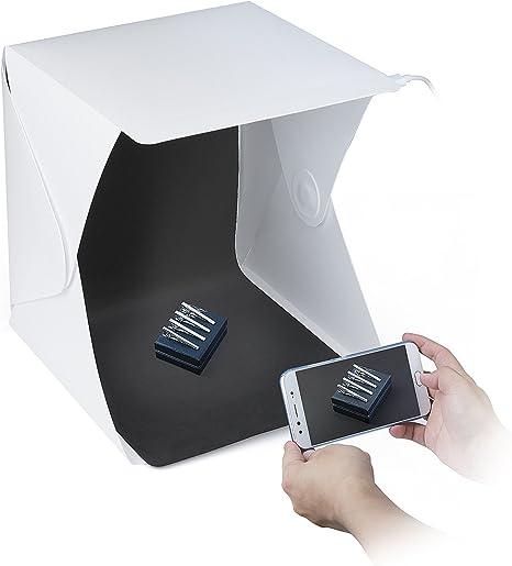 ZWOOS Caja de Fotografía con LED de Luz Fotográfico Tienda Caja de Kit, Mini Plegable Portátil Fotografía Estudio Foto con Fondo Negro / Blanco: Amazon.es: Electrónica