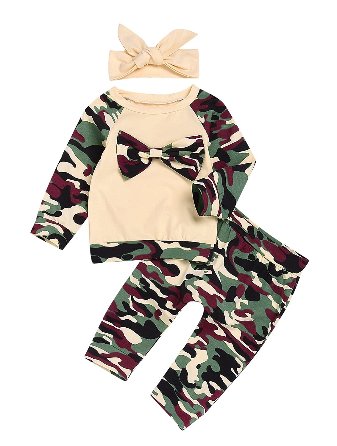 30ab9ab7a7e Amazon.com  Newborn Baby Boy Girls Camouflage Long Sleeve Tops+Long  Pants+Bowknot Headband Outfits Set Clothes  Clothing