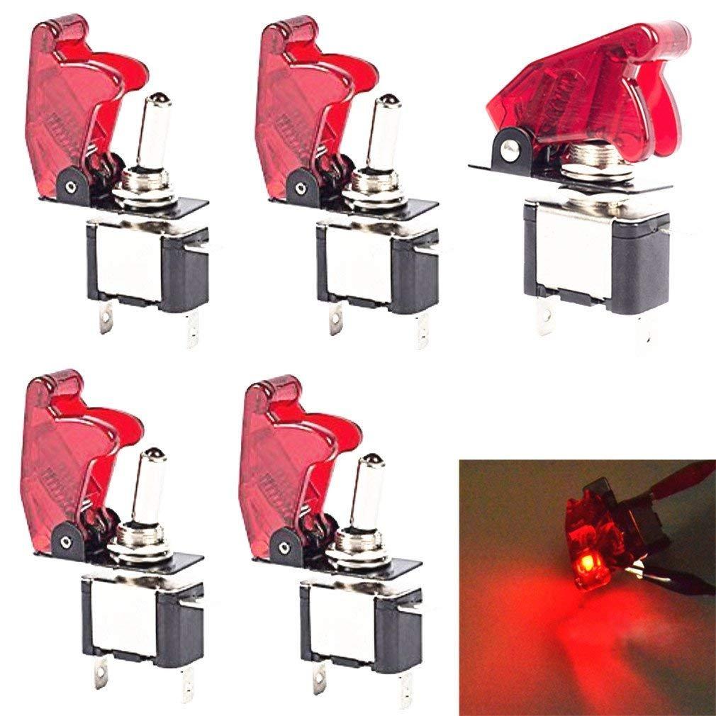 Led Rouge lumineux on/off Spst Voiture Automobile Bouton interrupteur à bascule DC 12V 20A Lot de 5 AGGER