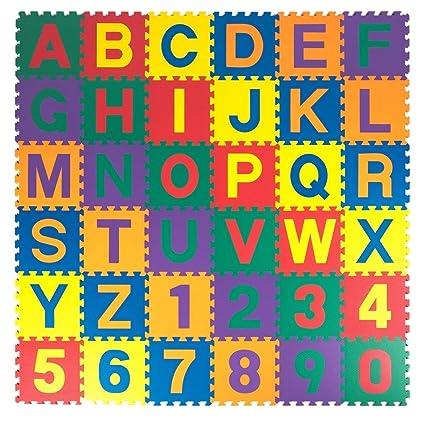 AREO Non-Toxic Plastic EVA Foam Play Mats, Alphabet ABC Puzzle Mat, 1/2