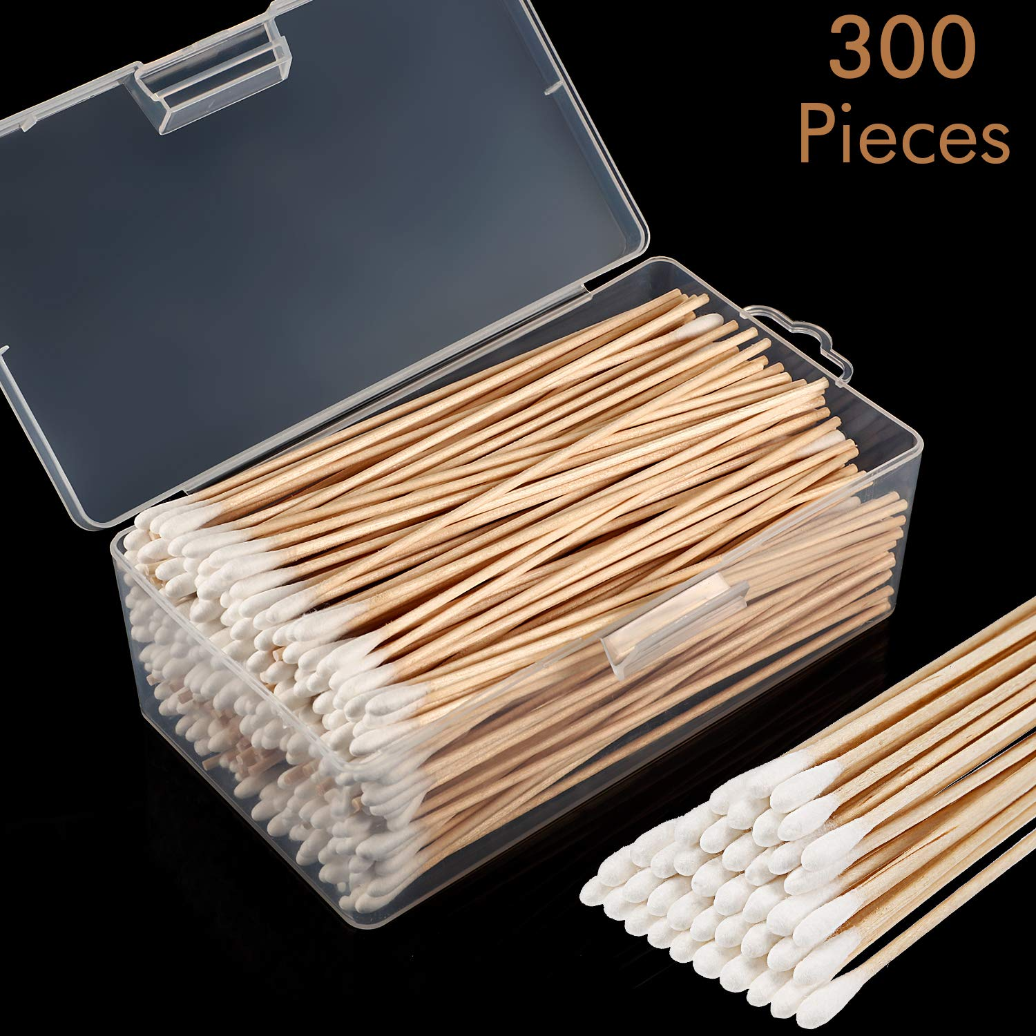 Norme Cotton Cleaning Swabs 6 Inch Caliber Cleaning Swabs Single Cuspidal Tip with Wooden Handle for Jewelry Ceramics Electronics in Storage Case (Round Tip) by Norme