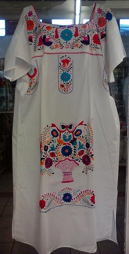 88922c35fa Womens Tamaño  XL XXL Color  Blanco mexicano tehuacán Vestido Túnica  Bordados de Flores