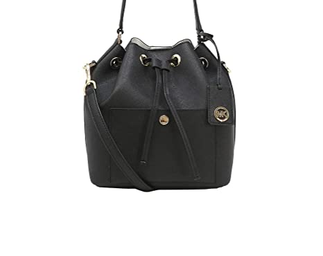 0925c29ca87e13 Image Unavailable. Image not available for. Color: MICHAEL Michael Kors  Greenwich Medium Bucket Leather Crossbody Bag - Black/Optic White