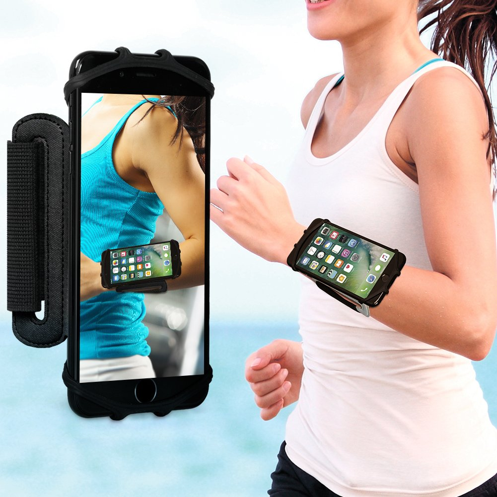 VUP Cell Phone Holder Wristband for iPhone X 7/7 Plus 8/8Plus 6/6S Plus, Galaxy S8/S9 S7 Edge Note 8, Nexus 6P 180° Rotatable Universal for 4.0''-5.8'' Mobile Phone Hiking Walking Running Armband by VUP (Image #2)