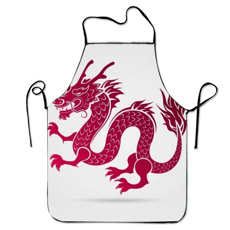 Traditional Chinese Dragon withシルエットdesign1キッチン料理エプロン女性と男性用調節可能なネックストラップレストランホームキッチンエプロンBib for、料理BBQ   B07FTK6F99