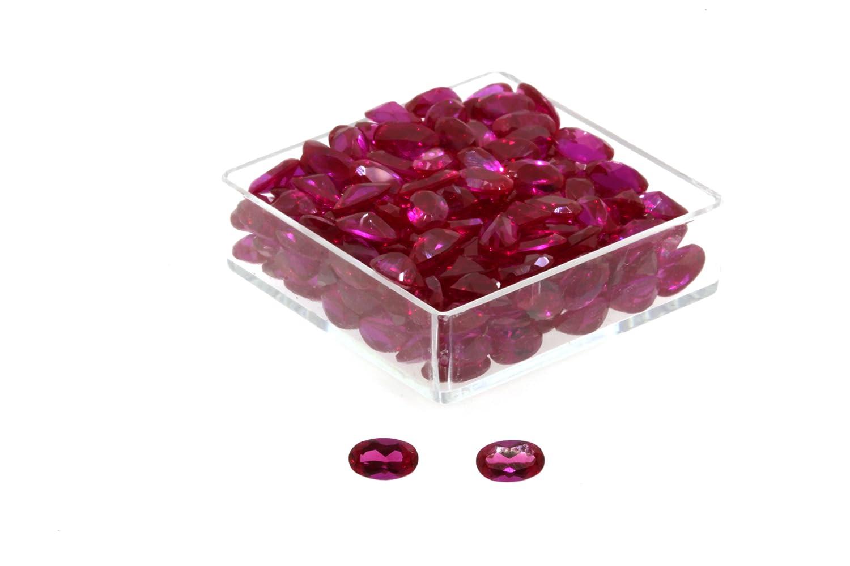 Birth Stone Jewels 5x3mm Ruby Oval Cut Cubic Zirconia Gem Stones Pack Of 4 5x3OVLRCZ