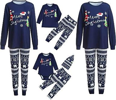 Pijamas de Navidad Familia Conjunto Pantalon y Top Pijamas Mujer Hombre Invierno Manga Larga Pijama de Dormir 2 Piezas Niños Niña Ropa de Dormir para ...