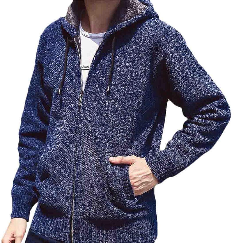 Gnao Mens Winter Warm Hoodie Zipper Fleece Lined Thicken Jacket Sweater w Pocket