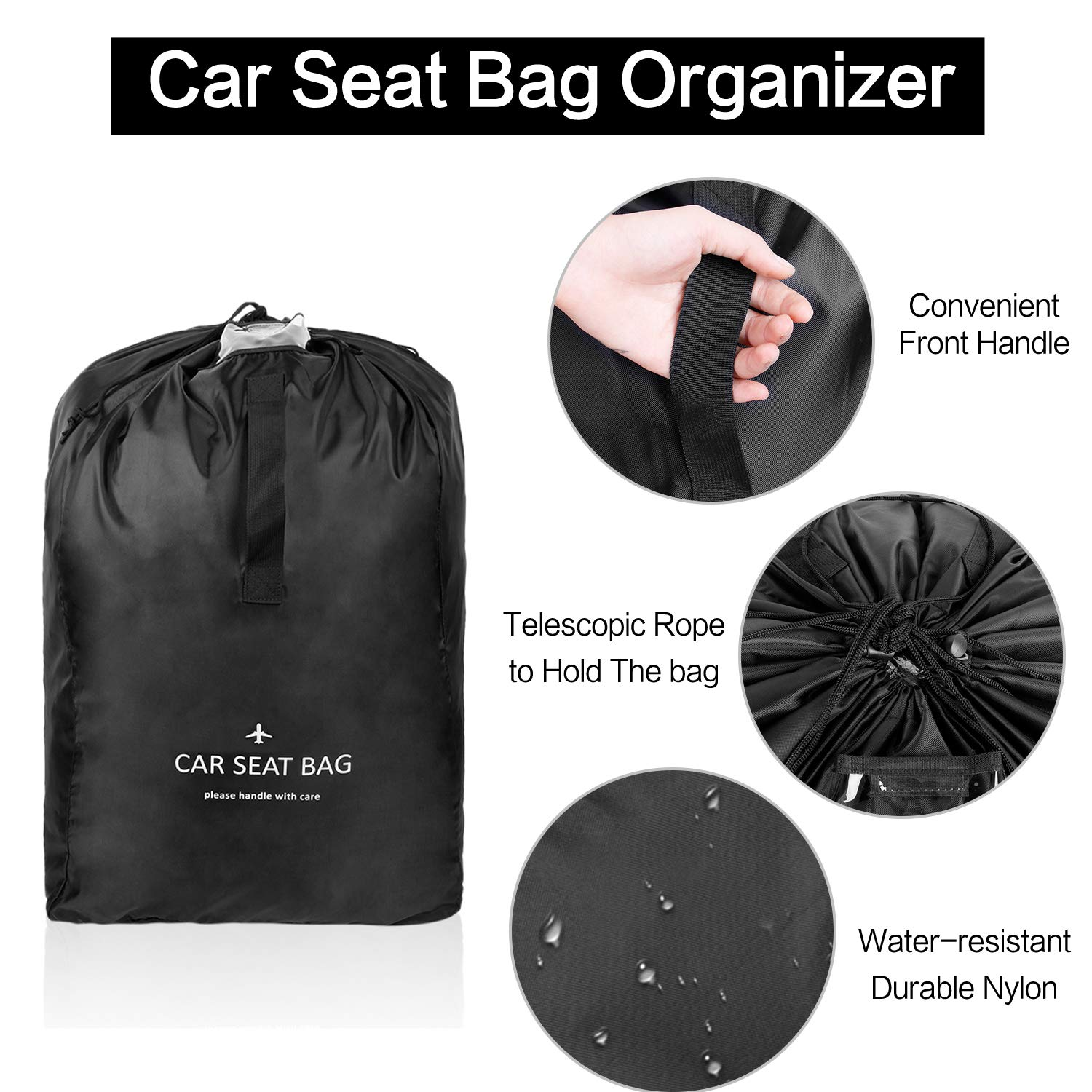 Durable Car Seat Travel Bag with Padded Shoulder Straps Easy to Transport Blue/&Black Saving Money Lightweight Ceekii Stroller Bag for Airplane Gate Check Bag Waterproof
