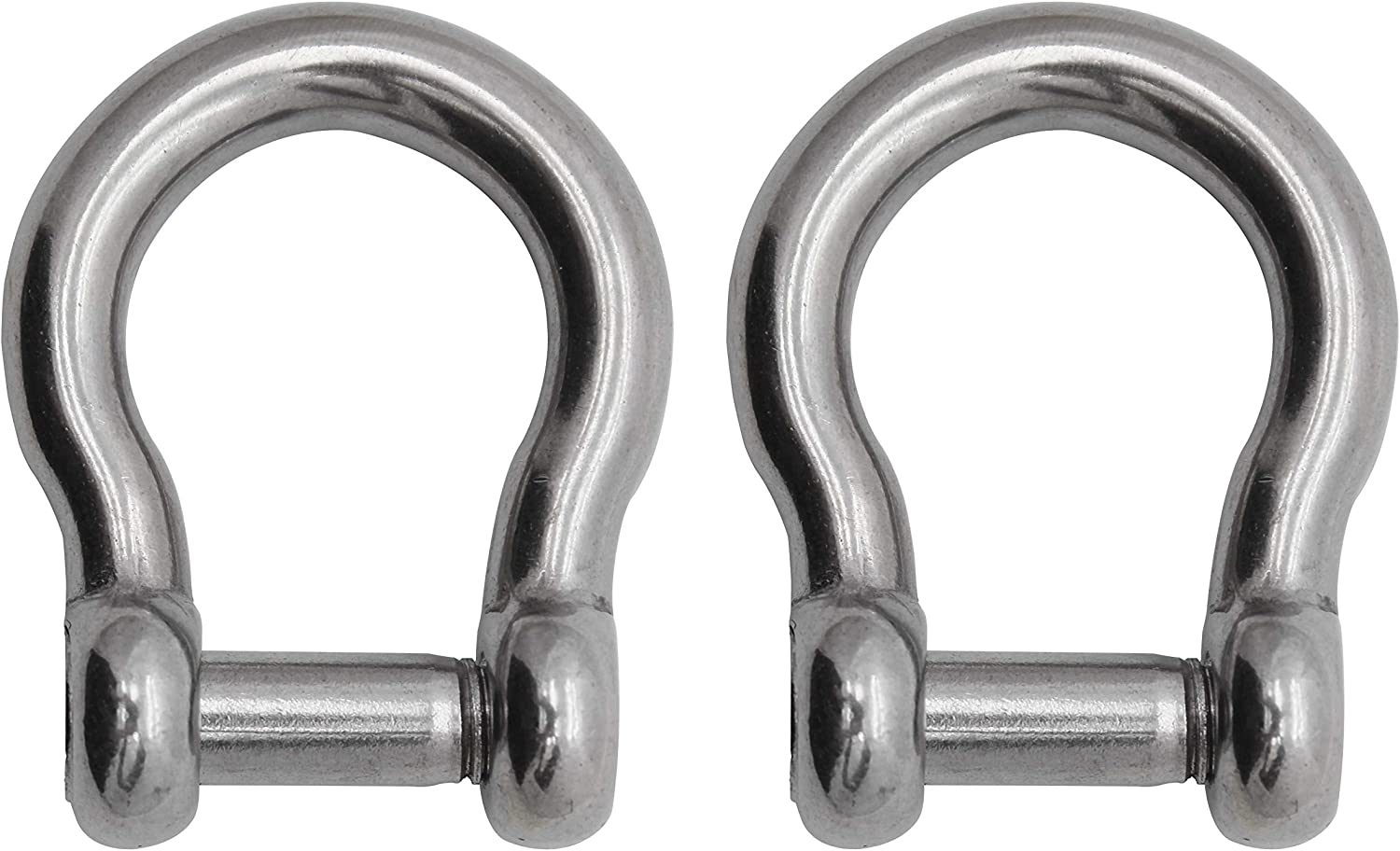 1//4 Extreme Max 3006.8405.2 BoatTector Stainless Steel Bow Shackle with No-Snag Pin 2-Pack