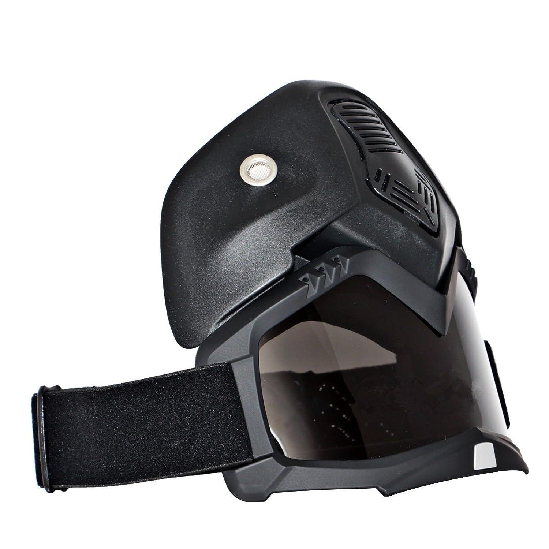 League&Co máscara negra y gafas para moto, casco, para moto, protección de rostro, de plástico TPU ajustable (lente ahumada): Amazon.es: Coche y moto