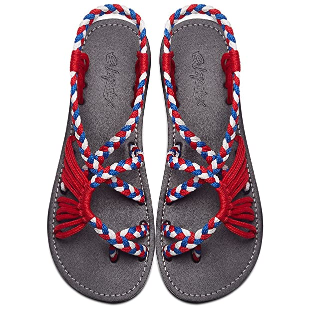 Everelax Women's Flat Sandals Red Blue White 10B(M) US