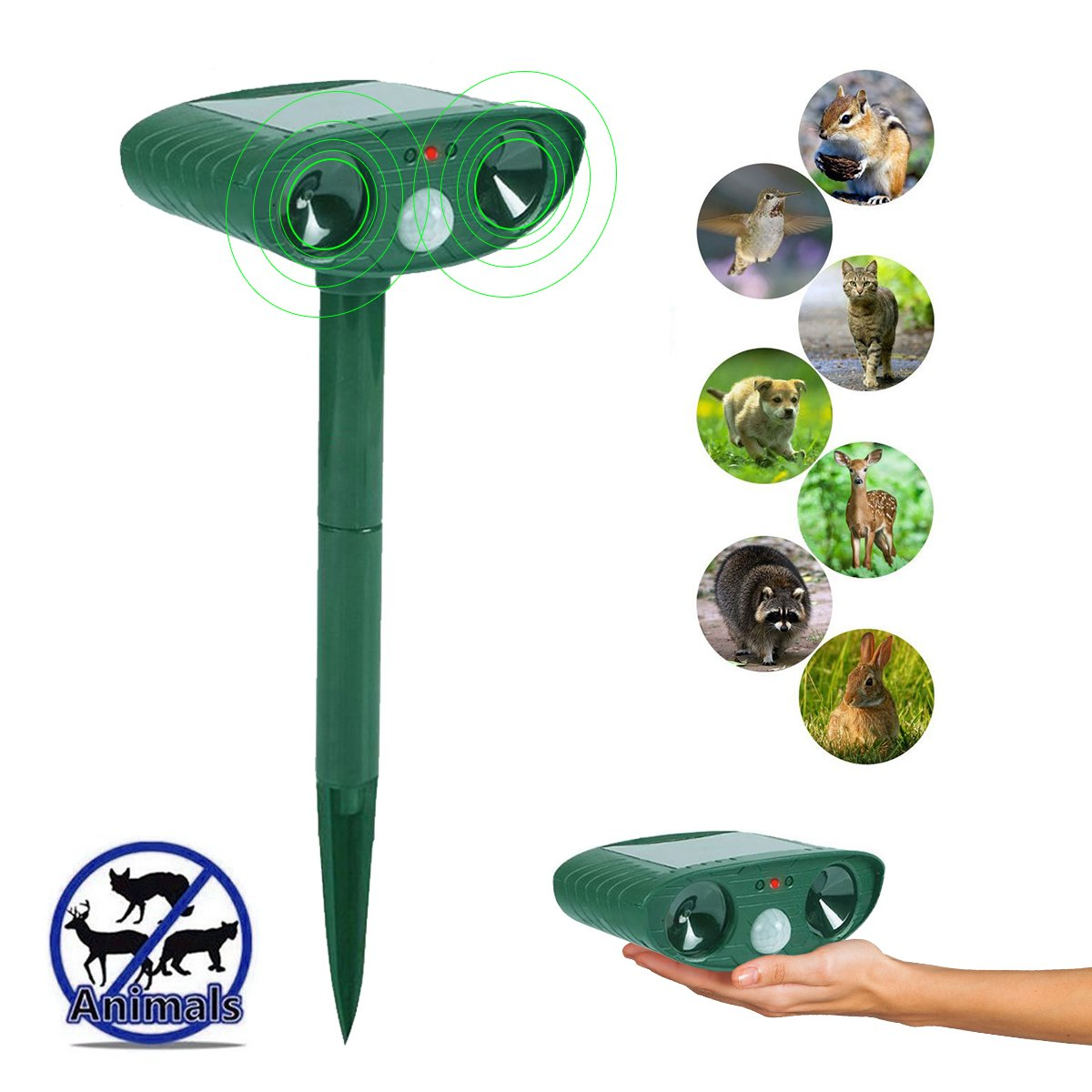 PLUSARGENT Ultrasonic Animal Repeller, Solar Powered Pest Repeller, Waterproof Outdoor Repellent with Motion Activated PIR Sensor, Repel Dogs, Cats, Squirrels, Foxes, Birds, Skunks, rod