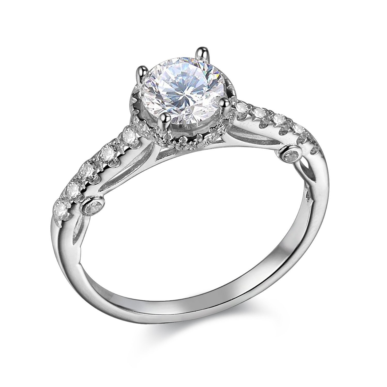 Newshe 1.2ct Round Cut Halo White Cz 925 Sterling Silver Wedding Engagement Ring Promise Size 10
