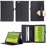 Qua Tab PZ ケース MaxKu 高級PUレザーケース カバー 手帳型 軽量 全面保護型 スタンド機能付き スマートカバー (ブラック)