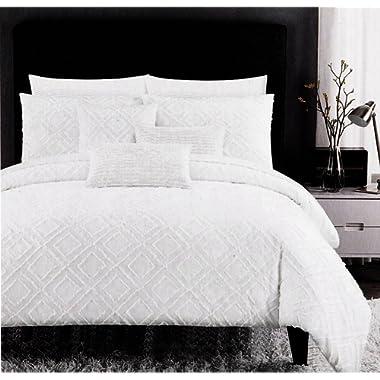 Tahari Diamond Textured Geometric Duvet Quilt Cover Cotton Bedding Set Modern Boho Chic Embroidered Embellished Off White Frayed Edge Tufted Geo Grid Design (King)