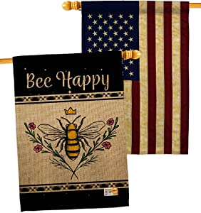 Bugs & Frogs Queen Bee Happy House Flags Pack Garden Friends Butterfly Ladybugs Dragonfly Springtime Insect Natural Wildlife USA Vintage Applique Small Gift Yard Banner Double-Sided Made In 28 X 40