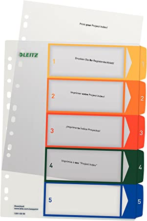 Pack of 10 A4 Multi-Punched Plastic Index Divider 1-12 Tabbed Ring Binder White