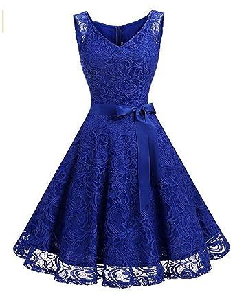 59548dc3e46315 Kidsform Damen Spitzen Kleider Ärmellos V-Ausschnitt Partykleid 50er Jahre  Abendkleider Cocktailkleid Elegant für Hochzeit