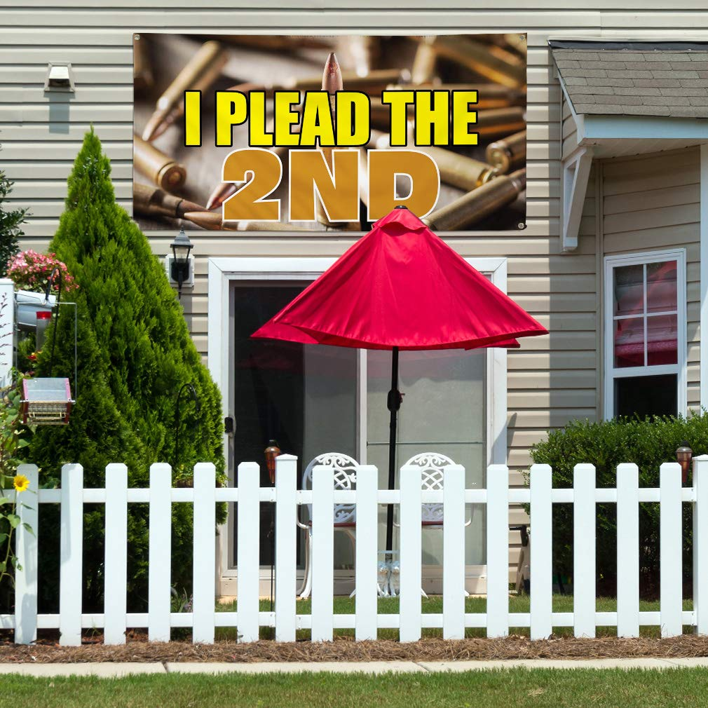 4 Grommets Set of 3 24inx60in Multiple Sizes Available Vinyl Banner Sign I Plead The 2Nd Business Plead Outdoor Marketing Advertising Yellow