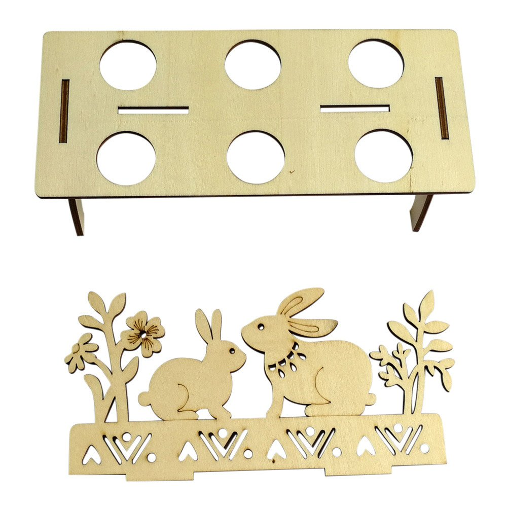 MALLOOM Wooden Creative Easter Egg Shelves Tray for Kids Bunny Hen Pattern Carry Hold Eggs (B) by MALLOOM (Image #4)