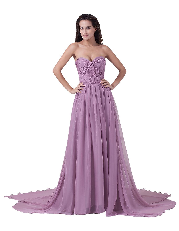 Dresstells Glamourös Damen Kleid Lang Chiffon Herzförmig Rückenfrei Abendkleid Ballkleider mit Schleppe