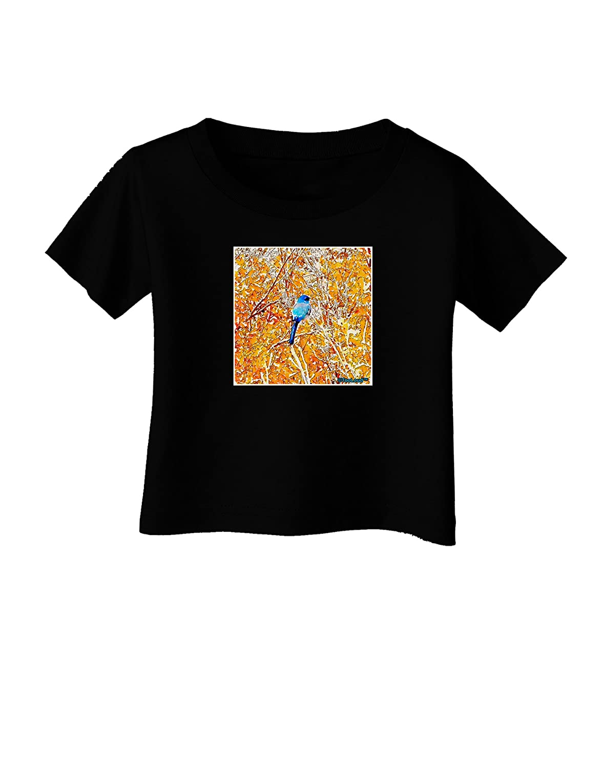 TooLoud Blue Bird in Yellow Watercolor Infant T-Shirt Dark