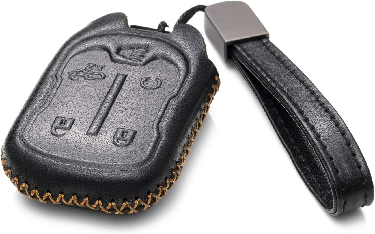 5-Button, Black//Red 3500 2019 GMC Sierra Vitodeco Genuine Leather Smart Key Fob Case Cover Protector with Leather Key Chain for 2019-2020 Chevrolet Silverado 1500 2500