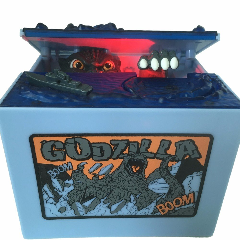 Cool Musical Automatic Godzilla Bank Stealing Coin Moving Dinosaur Monster Electronic Money Bank Godzilla Piggy Bank Birthday Toy Gifts … (Godzilla Bank)