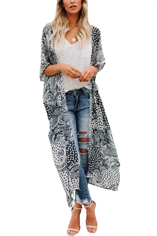 Yonala Women's Summer Floral Print Chiffon Beachwear Top Cover up Kimono Cardigan