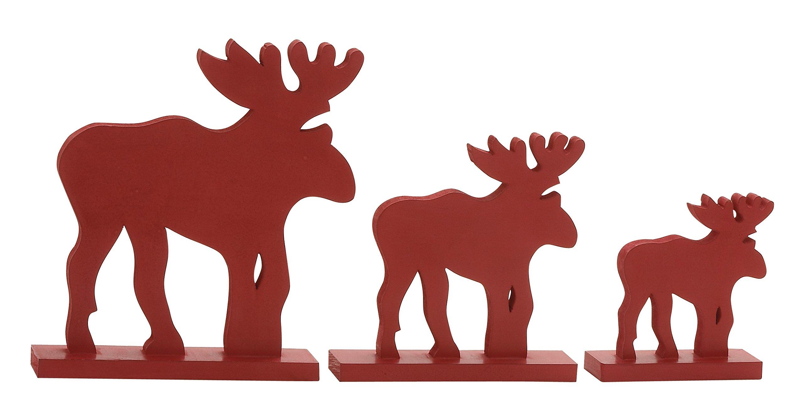 Plutus Brands Attractive Red Wood Reindeer (Set of 3)