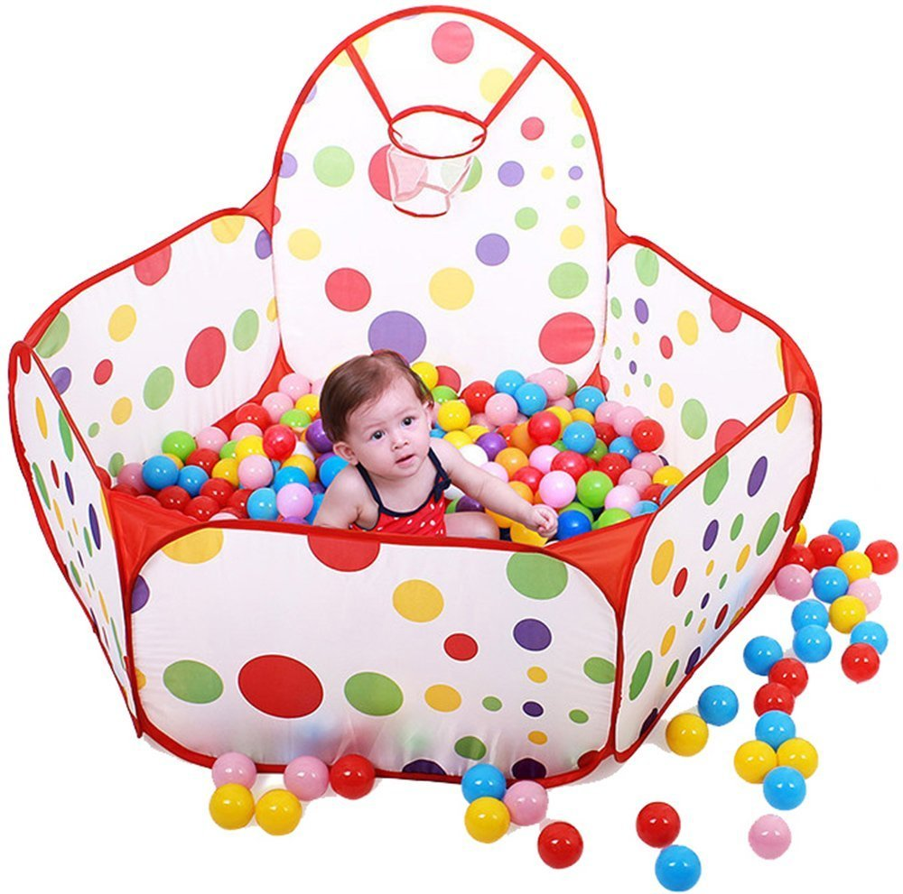 Toyshine Colorful Kids Play Zone Tent, Multi Color, 50 Balls Included