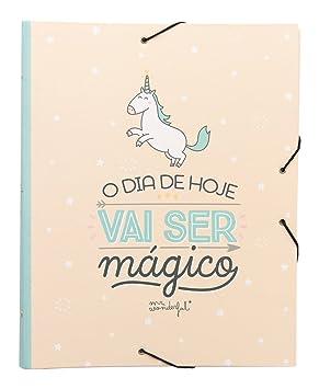 Mr. Wonderful WOA03705PT - Carpeta separadora, contenido en portugues, diseño Hoy será un día mágico: Amazon.es: Oficina y papelería