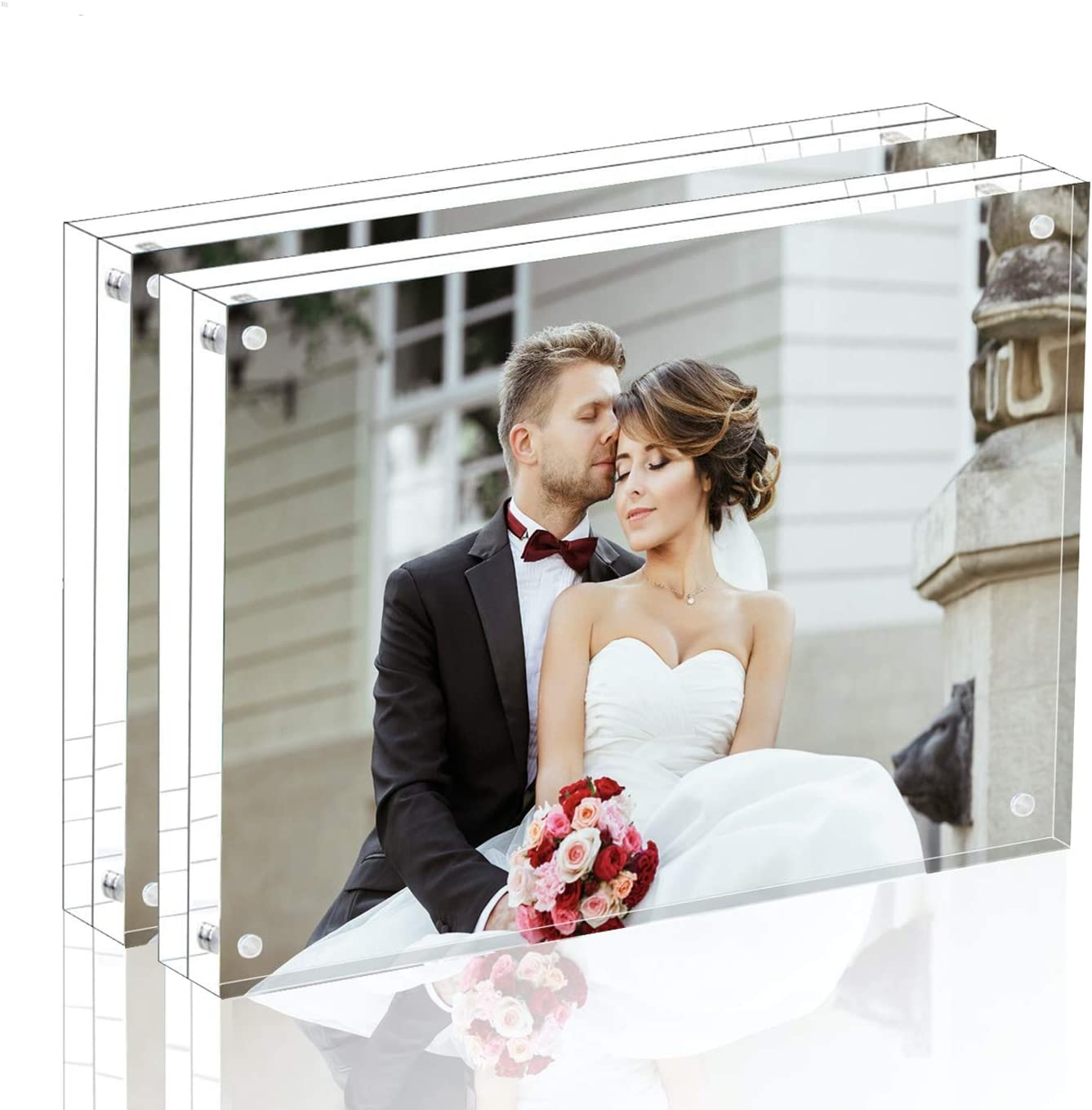 Amazon Com Magicool Premium Acrylic Photo Frame Magnet Photo Frame Double Sied Thick Desktop Frames 5x7 2 Pack