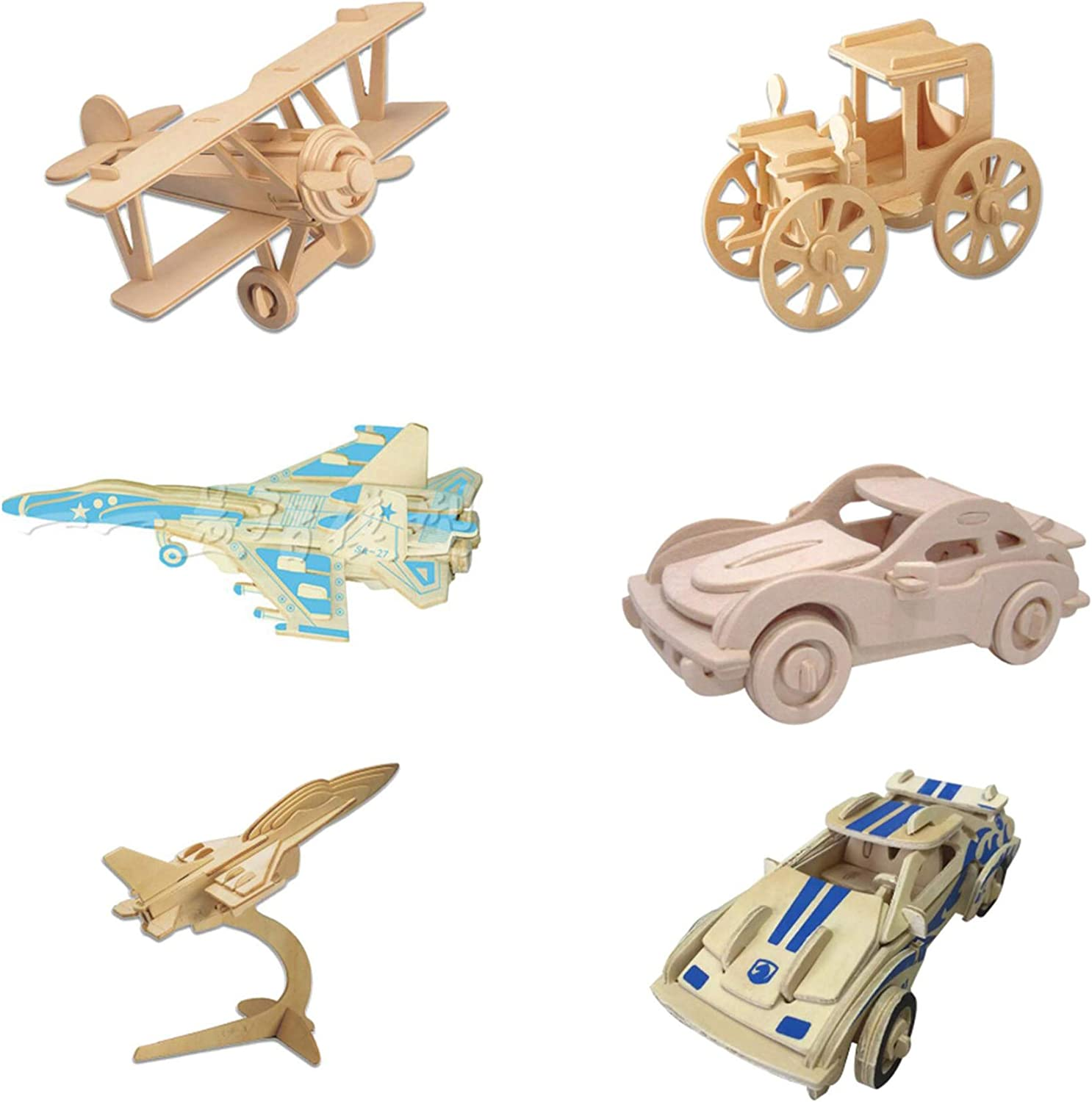 LUVenus 3D Wooden Puzzle Car and Aircraft 6 Packs Fighter Sports Car and Classic Car