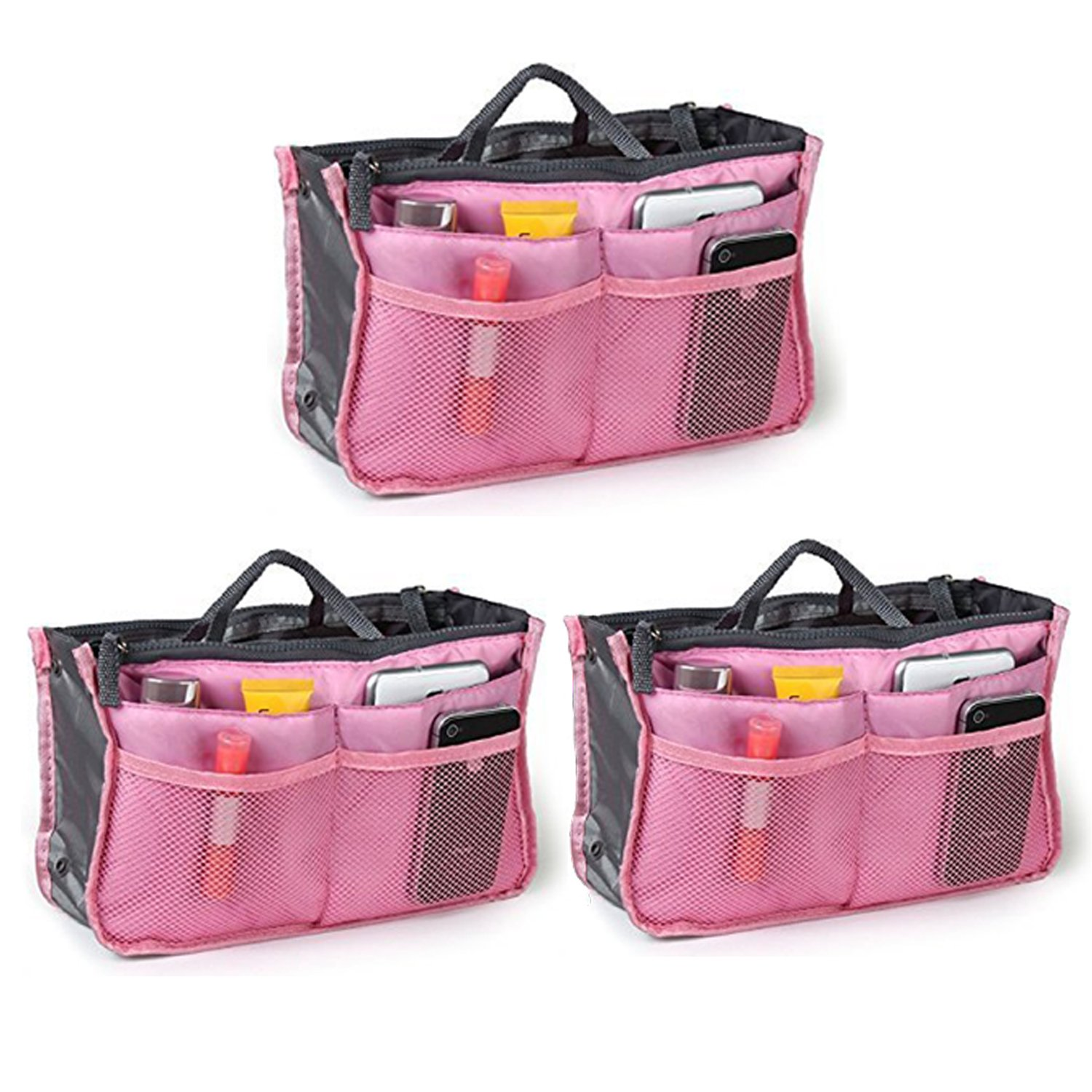Go Beyond (TM) Travel Insert Organizer Compartment Bag Handbag Purse Large Liner Insert-Organizer Tote Bag (Bundle of 3 Pink)