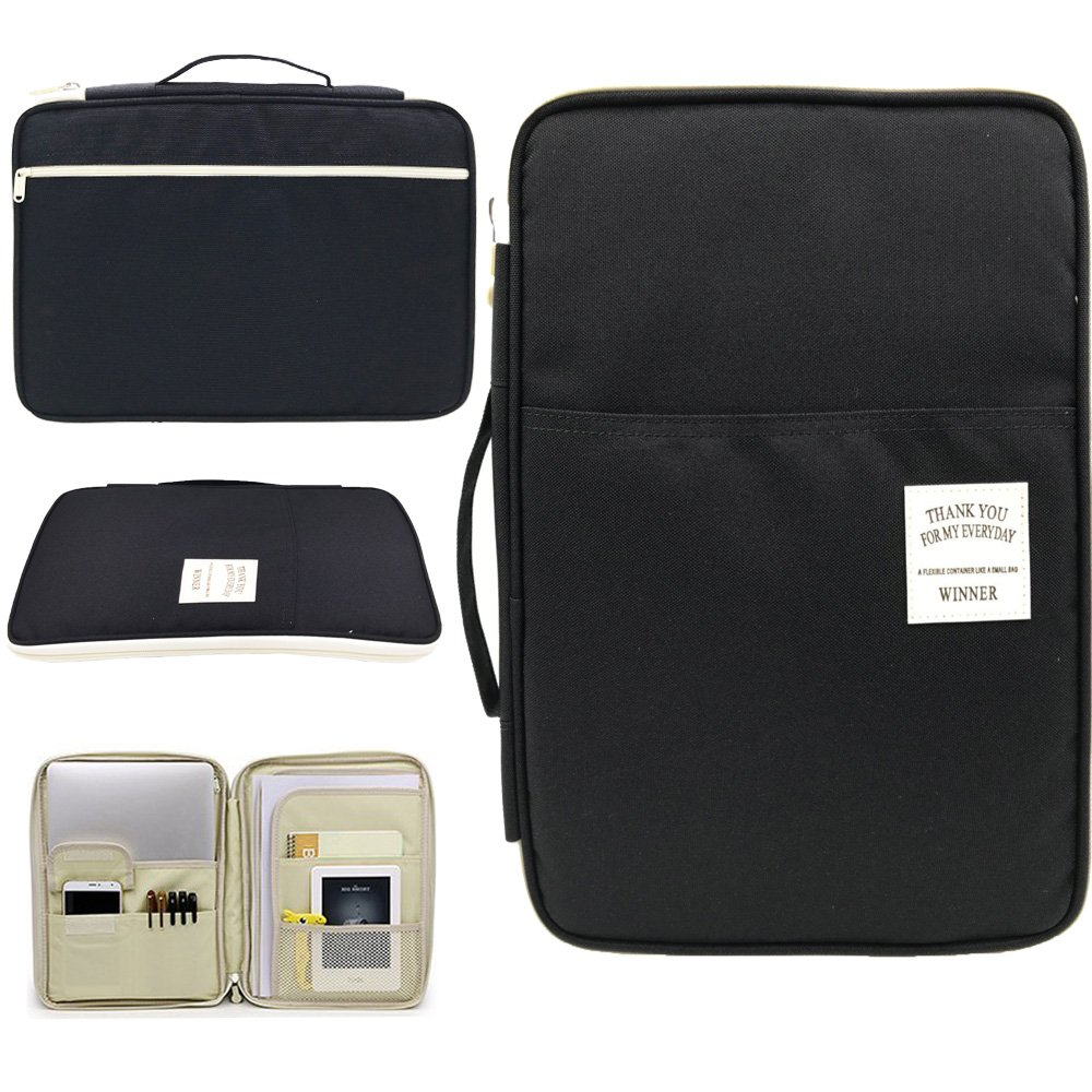 Amazing Tour A4 Documents Case Files Tickets Organizer Zipped Storage Messenger Portable IPad Bag Handbag Day Pack Multi-Function for Travel and Office Black Bag