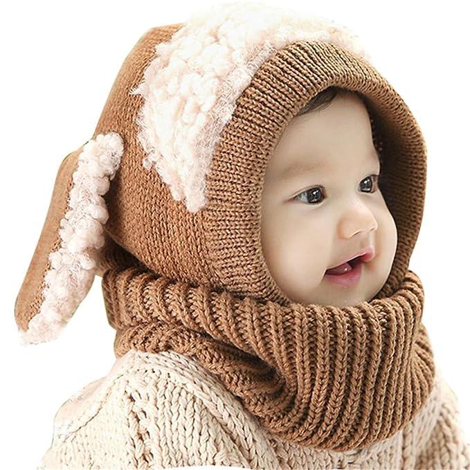 b03ab472a15 ECYC® Knited Winter Hats For Children Kids Rabbit Long Ear Cap Crochet Baby  Hooded Hat Scarf
