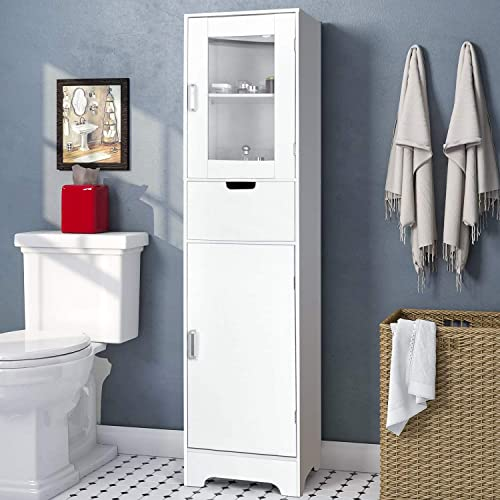 amzdeal Bathroom Storage Cabinet 15.7 L x 11.8 W x 66.9 H, Tall Cabinet with Doors and Shelves, Freestanding Linen Tower for Bathroom,Living Room.