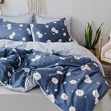 Duvet Cover King 100% Cotton Bedding Set Gray-Blue Daisy Print Floral Duvet Cover Reversible Stripe Design Ultra Comfy Zipper Closure with Corners Ties