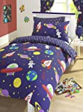 Blue Blast Off Space Man Rockets Reversible Junior Cot Bed Duvet Cover Set Inc Pillowcase by Kids Club